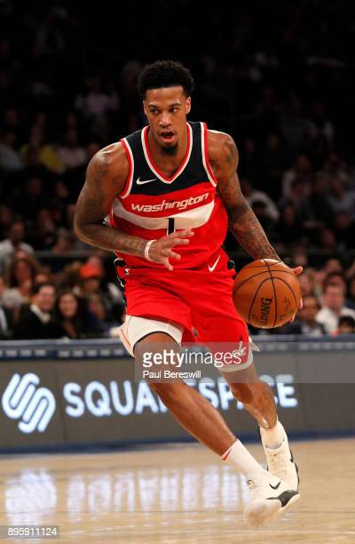 Chris McCullough of the Washington Wizards drives to the basket in an NBA basketball game against the New York Knicks on October 13 2017 at Madison...