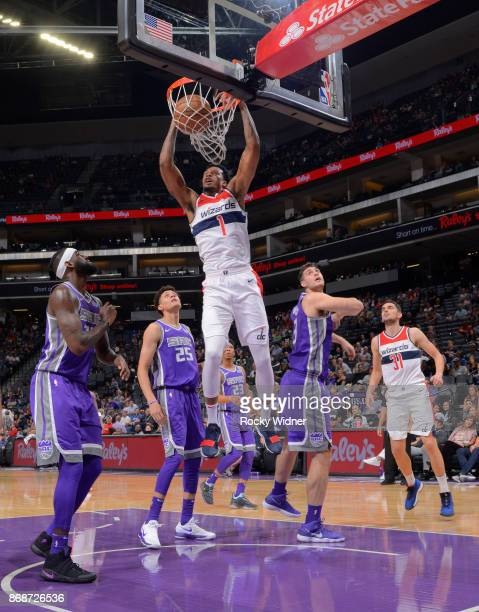 Chris McCullough of the Washington Wizards dunks against the Sacramento Kings on October 29 2017 at Golden 1 Center in Sacramento California NOTE TO...