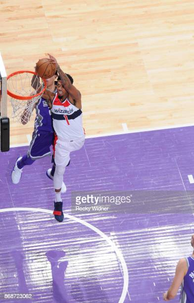 Chris McCullough of the Washington Wizards goes up for the shot against the Sacramento Kings on October 29 2017 at Golden 1 Center in Sacramento...