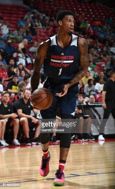 Chris McCullough of the Washington Wizards handles the ball against the Minnesota Timberwolves on July 14 2017 at the Thomas Mack Center in Las Vegas...