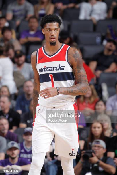 Chris McCullough of the Washington Wizards looks on during the game against the Sacramento Kings on October 29 2017 at Golden 1 Center in Sacramento...