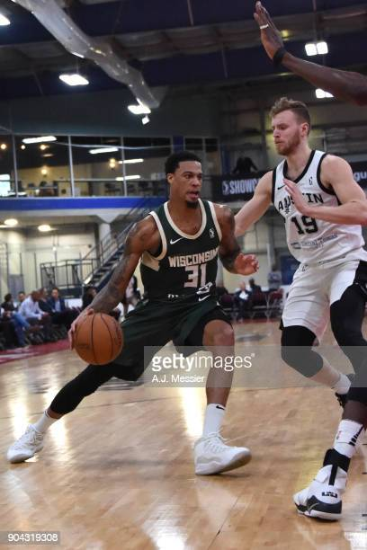 Chris McCullough of the Wisconsin Herd handles the ball against the Austin Spurs during the GLeague Showcase on January 12 2018 at the Hershey Centre...