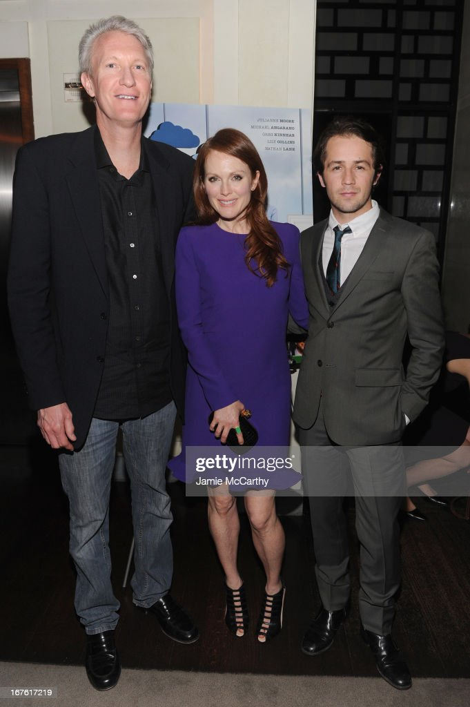 Chris McGurk, CEO of Cinedigm, Actress Julianne Moore and Michael Angarano attend 'The English Teacher' After Party during the 2013 Tribeca Film Festival on April 26, 2013 in New York City.