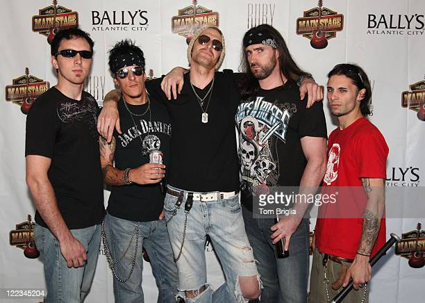 Chris McKeever David Kenneth Don Michael Johnny Klizz and Joe O'Hara of Sinners Saints participated in the Battle of the Room Trashing Bands at...