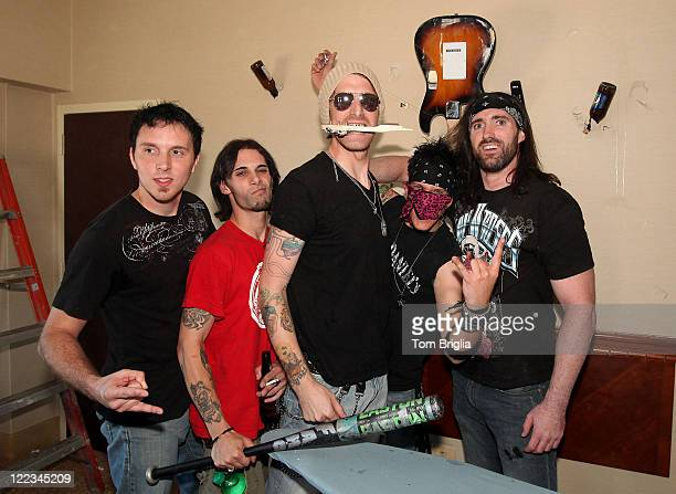 Chris McKeever Joe O'Hara Don Michael David Kenneth and Johnny Klizz of Sinners Saints participated in the Battle of the Room Trashing Bands at...