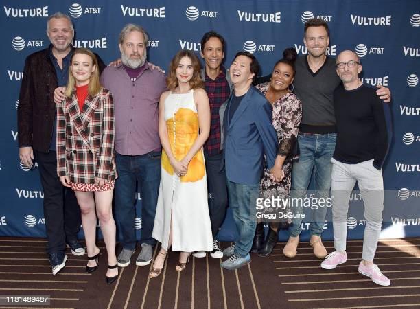 Chris McKenna, Gillian Jacobs, Dan Harmon, Alison Brie, Danny Pudi, Ken Jeong, Yvette Nicole Brown, Joel McHale, and Jim Rash arrive at the Vulture...