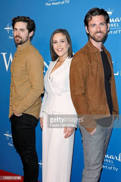 Chris McNally Erin Krakow Kevin McGarry photographed at the Hallmark Channel's 'When Calls The Heart' season 7 celebration dinner and panel at...