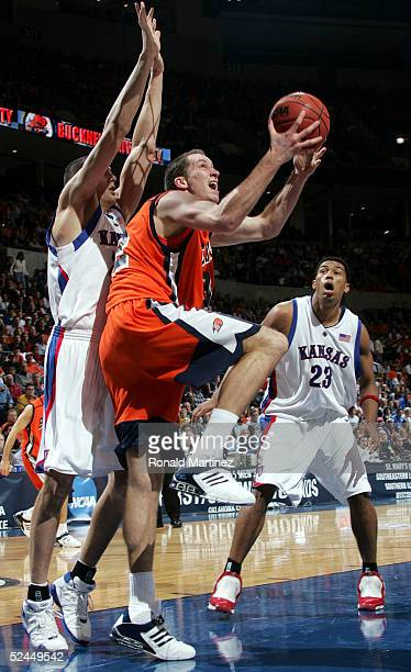 Chris McNaughton of the Bucknell Bison goes up for a layup in the first half against the Kansas Jayhawks during the first round of the NCAA Men's...
