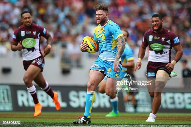 Chris McQueen of the Gold Coast Titans makes a break during the 2016 Auckland Nines quarter final match between the Manly Sea Eagles and the Gold...