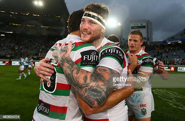 Chris McQueen of the Rabbitohs celebrates after winning the Grand Final match between The South Sydney Rabbitohs and the CronullaSutherland Sharks in...