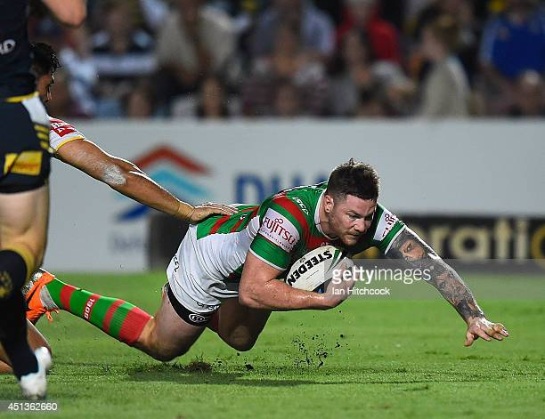 Chris McQueen of the Rabbitohs scores a try during the round 16 NRL match between the North Queensland Cowboys and the South Sydney Rabbitohs at...