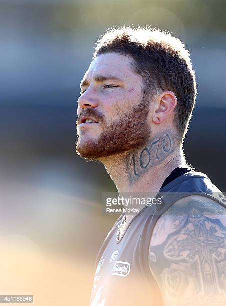 Chris McQueen watches on during a South Sydney Rabbitohs NRL training session at Redfern Oval on June 25 2014 in Sydney Australia