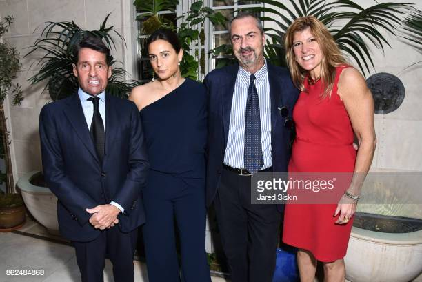 Chris Meigher Cristiana Vigano Carlo Traglio and Michele Heary attend QUEST VHERNIER Host Luncheon at MAJORELLE at Majorelle on October 17 2017 in...