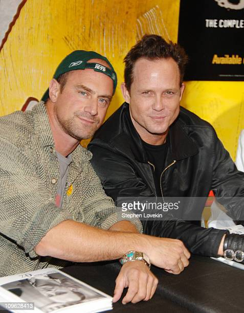 """Chris Meloni and Dean Winters during """"Oz"""" Season 6 - DVD Signing at Tower Records at Tower Records - Lincoln Center in New York City, NY, United..."""
