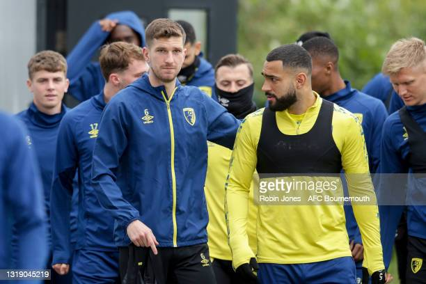Chris Mepham and Cameron Carter-Vickers of Bournemouth during a training session at the Vitality Stadium on May 20, 2021 in Bournemouth, England.