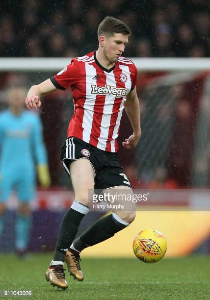 Chris Mepham of Brentford in action during the Sky Bet Championship match between Brentford and Norwich City at Griffin Park on January 27 2018 in...