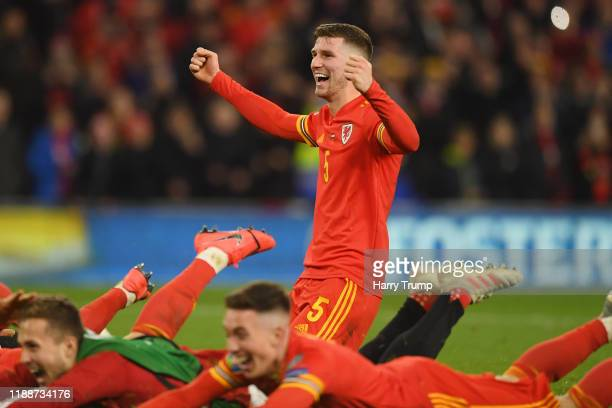 Chris Mepham of Wales celebrates after the UEFA Euro 2020 qualifier between Wales and Hungary so at Cardiff City Stadium on November 19, 2019 in...