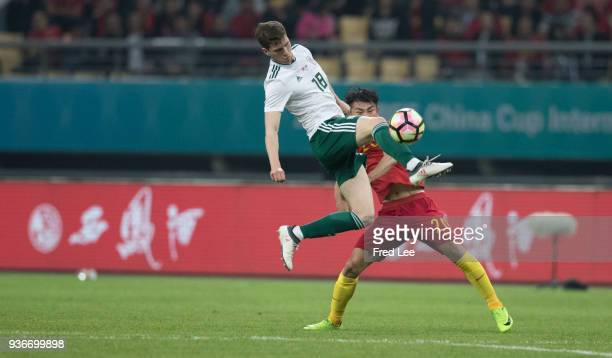 Chris Mepham of Wales in action during 2018 China Cup International Football Championship between China and Wales at Guangxi Sports Center on March...