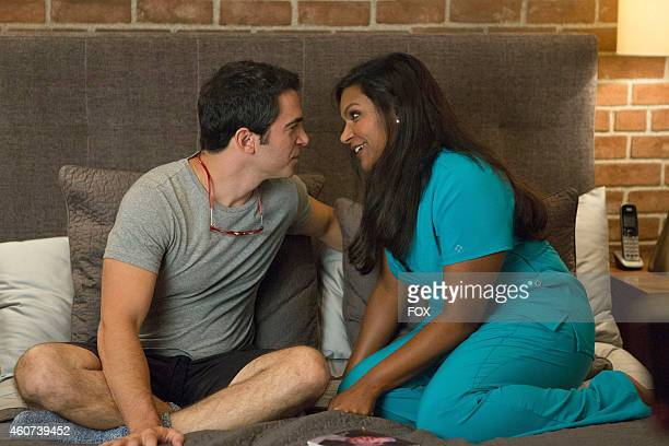 Chris Messina and Mindy Kaling in the 'We're A Couple Now Haters' season premiere episode of THE MINDY PROJECT airing Tuesday Sept 16 2014 on FOX