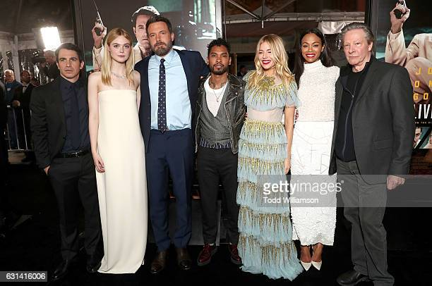 Chris Messina Elle Fanning Ben Affleck Miguel Sienna Miller Zoe Saldana and Chris Cooper attends the premiere Of Warner Bros Pictures' Live By Night...