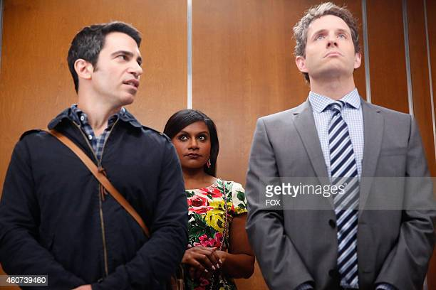 Chris Messina Mindy Kaling and Glen Howerton in the 'Crimes Misdemeanors ExBF's' episode of THE MINDY PROJECT airing Tuesday Sept 23 on FOX