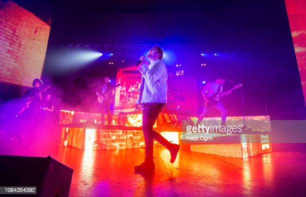 Chris Miller, Josh Franceschi, Dan Flint, and Matt Barnes of You Me At Six perform at O2 Academy Birmingham on November 22, 2018 in Birmingham,...