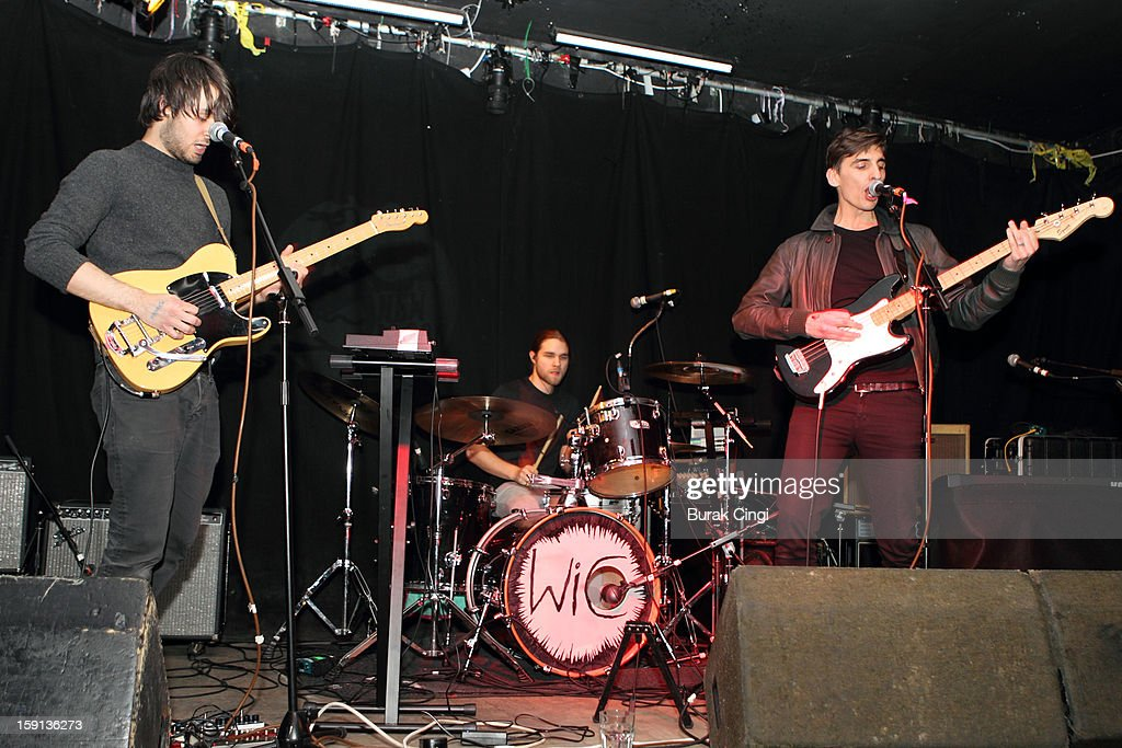 Chris Milton, Benjamin Mousley and Gareth Bartlett of The Kill Van Kulls perform on stage on day one of Artrocker Magazine's New Blood Festival at Hoxton Square Bar And Kitchen on January 8, 2013 in London, England.