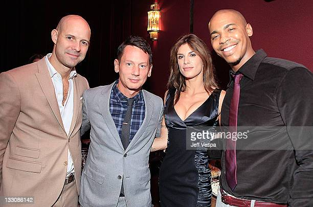 Chris Mitchell Vice President and Publisher GQ Jim Nelson Editor in Chief GQ actress Elisabetta Canalis and actor Mehcad Brooks attend Giorgio Armani...