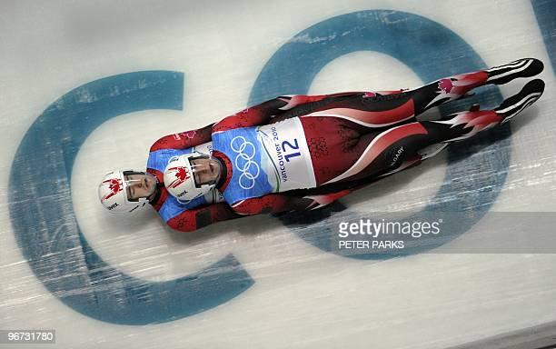 Chris Moffat and Mike Moffat of Canada take a corner during the men's doubles luge practise at the Whistler Sliding Centre on February 14 2010 The...