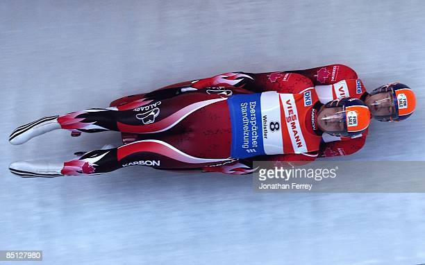 Chris Moffat and Mike Moffat of Canadad during the Viessmann Luge World Cup on February 20, 2009 at the Whistler Sliding Center in Whistler, Bristish...