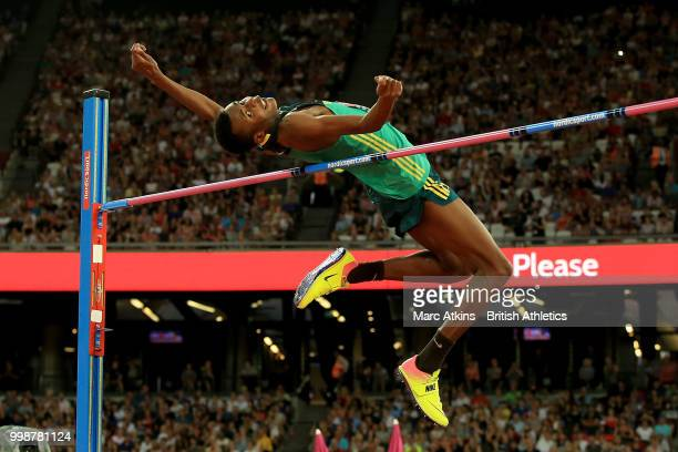 Chris Moleya of South Africa competes in the Men's High Jump during day one of the Athletics World Cup London at the London Stadium on July 14, 2018...
