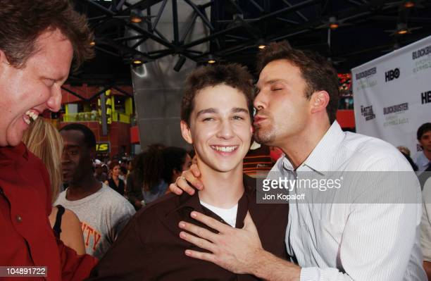Chris Moore Shia LaBeouf and Ben Affleck during World Premiere Of 'The Battle Of Shaker Heights' Arrivals at Universal Citywalk Theatres in Universal...