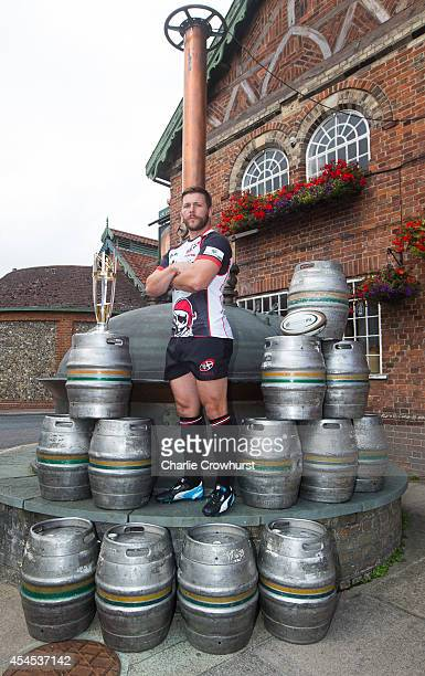 Chris Morgan of Cornish Pirates poses for a photo during the 2014/15 Greene King IPA Championship Captains photocall at Greene King IPA brewery on...