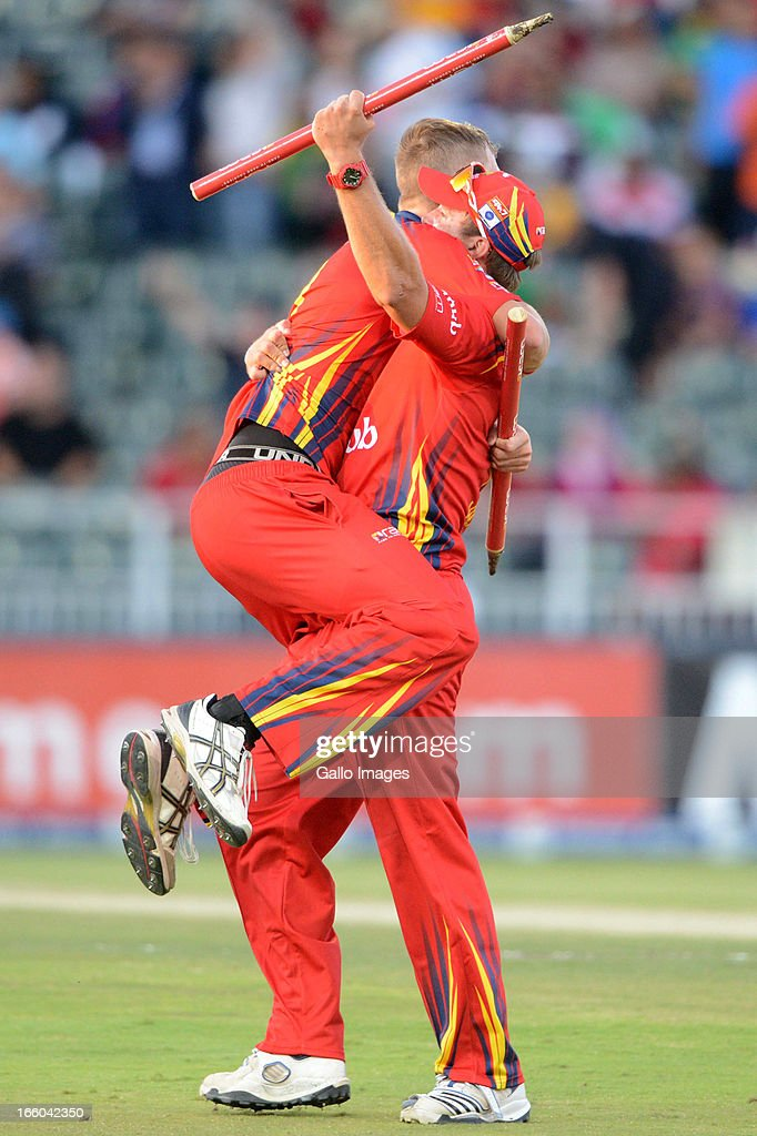 Chris Morris and Hardus Viljoen of the Bizhub Highveld Lions celebrate during the 2013 RAM Slam T20 Challenge Final between Bizhub Highveld Lions and Nashua Titans at Bidvets Wanderers Stadium on April 07, 2013 in Johannesburg, South Africa.