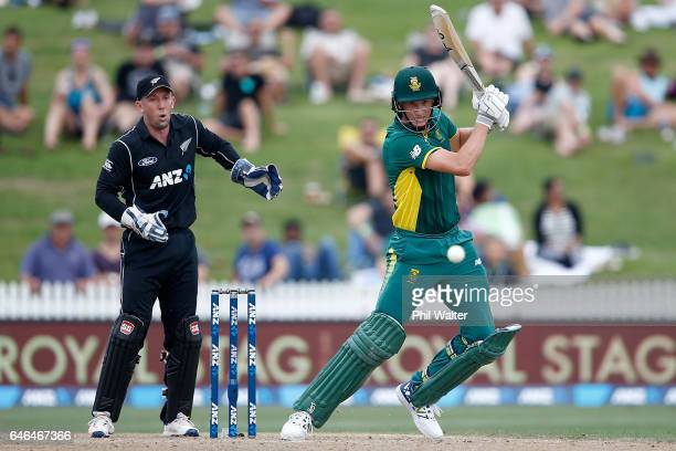 Chris Morris of South Africa bats during game four of the One Day International series between New Zealand and South Africa at on March 1 2017 in...