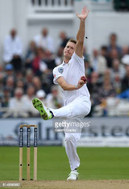 Chris Morris of South Africa bowls during day two of the 2nd Investec Test match between England and South Africa at Trent Bridge on July 15 2017 in...