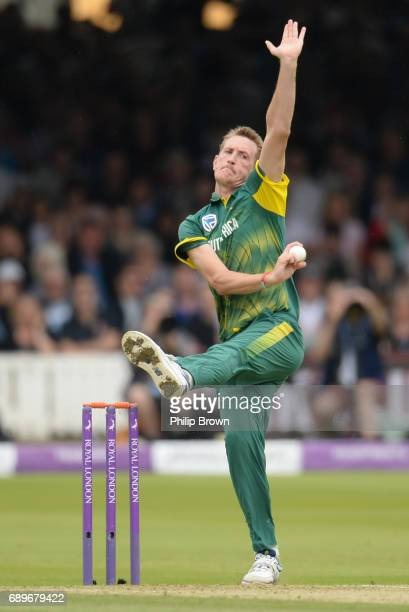 Chris Morris of South Africa bowls during the 3rd Royal London oneday international cricket match between England and South Africa at Lord's cricket...