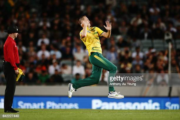 Chris Morris of South Africa bowls during the first International Twenty20 match between New Zealand and South Africa at Eden Park on February 17...