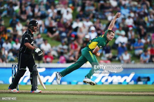 Chris Morris of South Africa bowls during the First One Day International match between New Zealand and South Africa at Seddon Park on February 19...