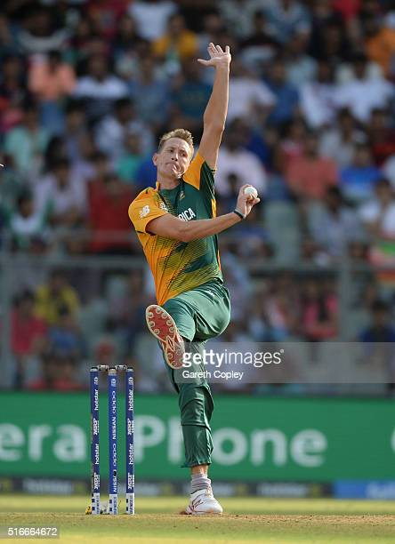 Chris Morris of South Africa bowls during the ICC World Twenty20 India 2016 Super 10s Group 1 match between South Africa and Afghanistan at Wankhede...
