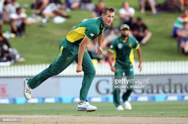 Chris Morris of South Africa bowls during the oneday international cricket match between New Zealand and South Africa at Seddon Park in Hamilton on...