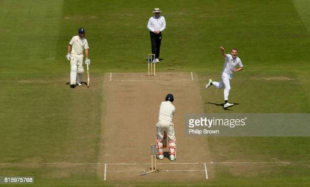 Chris Morris of South Africa celebrates after bowling Joe Root of England during the fourth day of the 2nd Investec Test match between England and...