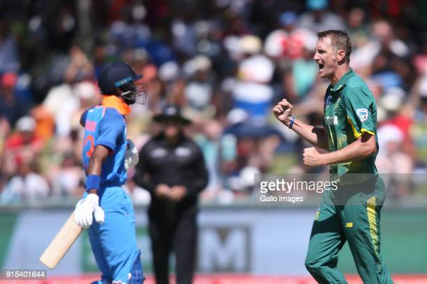 Chris Morris of South Africa celebrates getting Hardik Pandya of India wicket during the 3rd Momentum ODI match between South Africa and India at PPC...