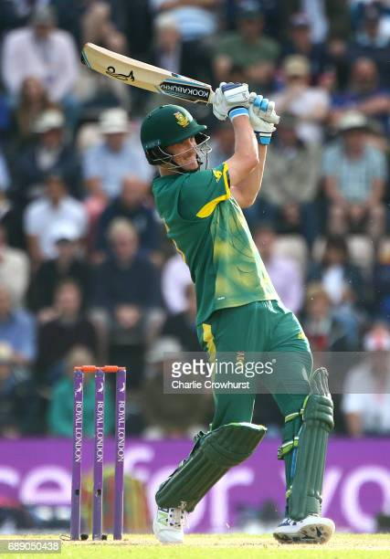 Chris Morris of South Africa hits out during the Royal London ODI match between England and South Africa at The Ageas Bowl on May 27 2017 in...