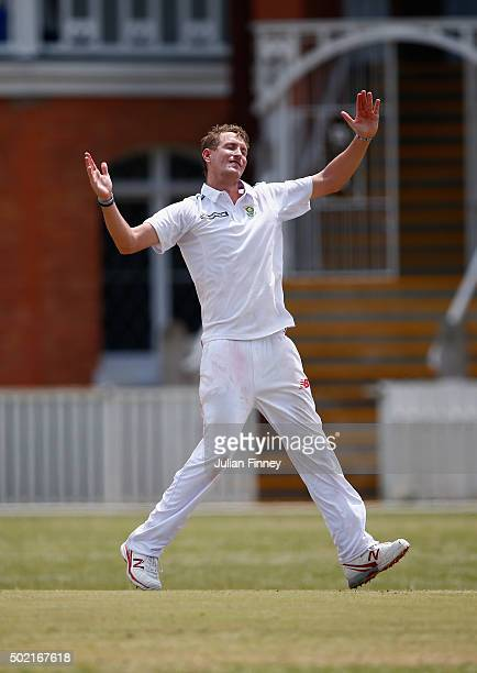 Chris Morris of South Africa reacts whilst bowling during day two of the tour match between South Africa A and England at City Oval on December 21...