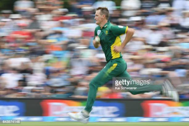 Chris Morris of South Africa runs in to bowl during game two of the One Day International series between New Zealand and South Africa at Hagley Oval...