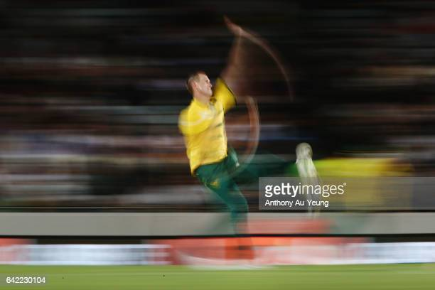 Chris Morris of South Africa runs up to bowl during the first International Twenty20 match between New Zealand and South Africa at Eden Park on...