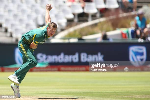 Chris Morris of South Africa sends down a delivery during the 3rd Momentum ODI match between South Africa and India at PPC Newlands on February 07...