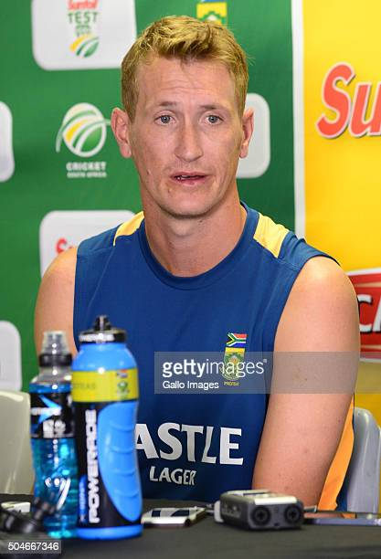 Chris Morris speaks to the media during the South African national cricket team training session at Bidvest Wanderers Stadium on January 12 2016 in...
