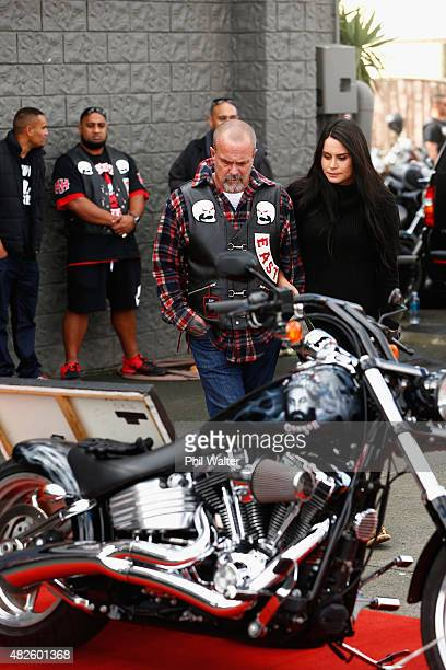 Chris Morris the father of the late Connor Morris and Millie ElderHolmes pay their respects following a memorial ride for Connor on August 1 2015 in...